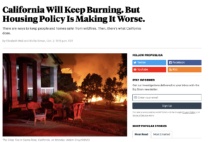 Headline: California Will Keep Burning. But Housing Policy Is Making It Worse. (Screenshot of headline)