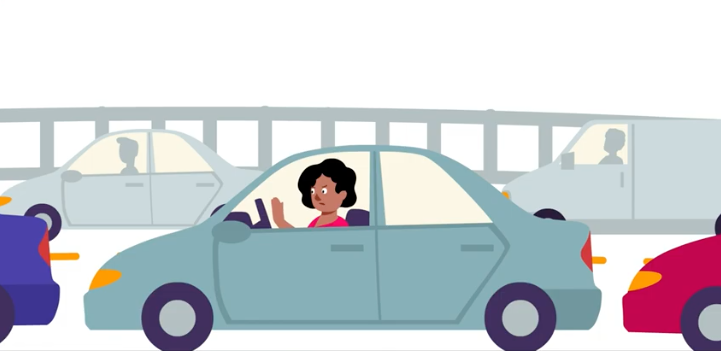An illustration of a woman sitting in traffic